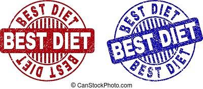 Grunge BEST DIET Scratched Round Stamps