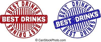 Grunge BEST DRINKS Scratched Round Stamp Seals