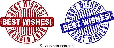Grunge BEST WISHES! Scratched Round Stamp Seals