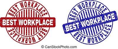Grunge BEST WORKPLACE Scratched Round Stamp Seals