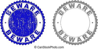 Grunge BEWARE Textured Stamp Seals