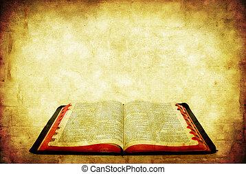 Grunge Bible - Open Bible over grunge sandstone background.