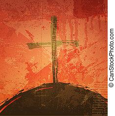 grunge, biblico, concept., croce, fondo., tramonto