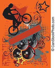 grunge, bicicletta, salto, e, musica