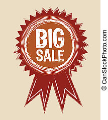 grunge big sale ribbon isolated. vector illustration