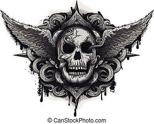 Grunge Biker Skull