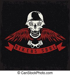 grunge biker theme label with flowers, wings, pistons and skull