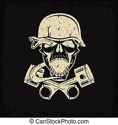 grunge biker theme label with pistons snake and skulls
