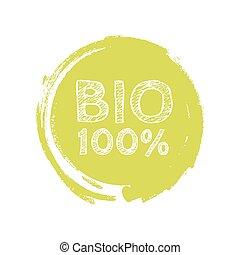 Grunge bio 100 percent natural rubber stamp, vector illustration