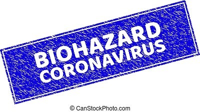 Grunge BIOHAZARD CORONAVIRUS Textured Rectangle Stamp Seal