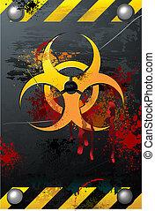 grunge, biohazard, señal, con, sangre