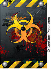 Grunge Biohazard Sign with Blood Splats, detailed vector