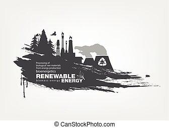 grunge biomass energy. Renewable energy - Abstract isolated...