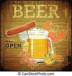 grunge, birra, disegno, menu