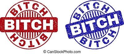 Grunge BITCH Scratched Round Stamps