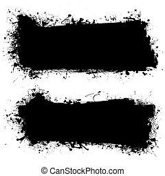 grunge, bläck, baner, svart