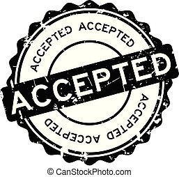 Grunge black accepted round rubber seal stamp on white background