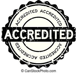Grunge black accredited round rubber seal stamp on white background