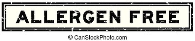 Grunge black allergen free word square rubber seal stamp on white background