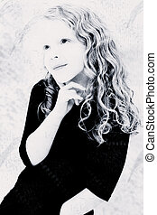 Grunge Black and White of Girl Child Thinking
