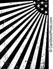 Grunge black and white United States of America flag. Abstract American patriotic background. Vector grunge illustration