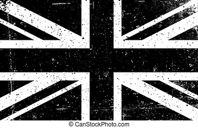 Grunge black and white vector image of the British flag....