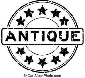 Grunge black antique word with star icon round rubber seal stamp on white background