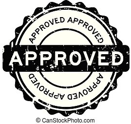 Grunge black approve round rubber seal stamp on white background