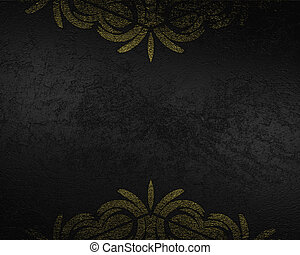 Grunge black background with gold patterns on the edges....
