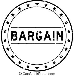 Grunge black bargain word round rubber seal stamp on white background