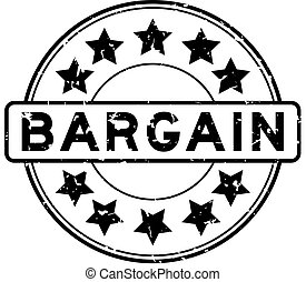 Grunge black bargain word with star icon round rubber seal stamp on white background