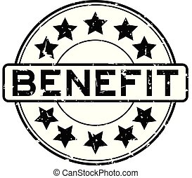 Grunge black benefit word with star icon round rubber seal stamp on white background