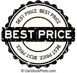 Grunge black best price word round rubber seal stamp on white background