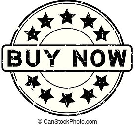 Grunge black buy now word round rubber seal stamp on white background