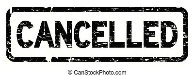 Grunge black cancelled square rubber seal stamp on white...