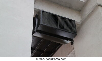 Grunge black ceiling air conditioner, stock footageArt,...
