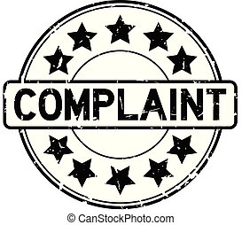 Grunge black complaint word with star icon round rubber seal stamp on white background