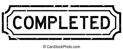 Grunge black completed word square rubber seal stamp on white background