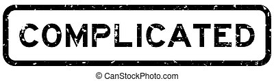 Grunge black complicated word square rubber seal stamp on white background