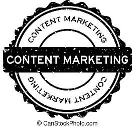 Grunge black content marketing word round rubber seal stamp on white background