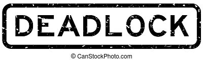Grunge black deadlock word square rubber seal stamp on white background