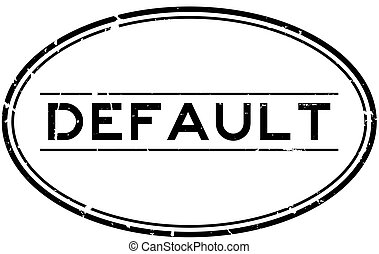 Grunge black default word oval rubber seal stamp on white background