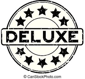 Grunge black deluxe word with star icon round rubber seal stamp on white background