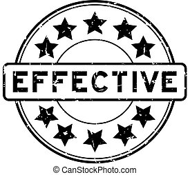 Grunge black effective word with star icon round rubber seal stamp on white background