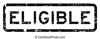 Grunge black eligible square rubber seal stamp on white background