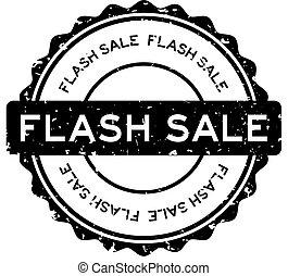 Grunge black flash sale word round rubber seal stamp on white background