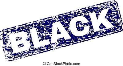 Grunge BLACK Framed Rounded Rectangle Stamp