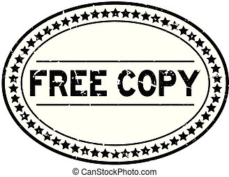 Grunge black free copy word oval rubber seal stamp on white background
