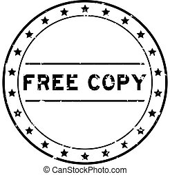 Grunge black free copy word round rubber seal stamp on white background