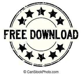 Grunge black free download word with star icon round rubber seal stamp on white background